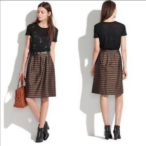 MADEWELL Linen/Silk Blend Striped Skirt